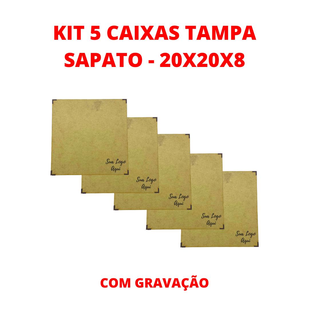 Kit 5 Caixas Tampa Sapato Com Gravação - 20x20x8