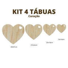 Kit 4 tábuas Coração 6mm